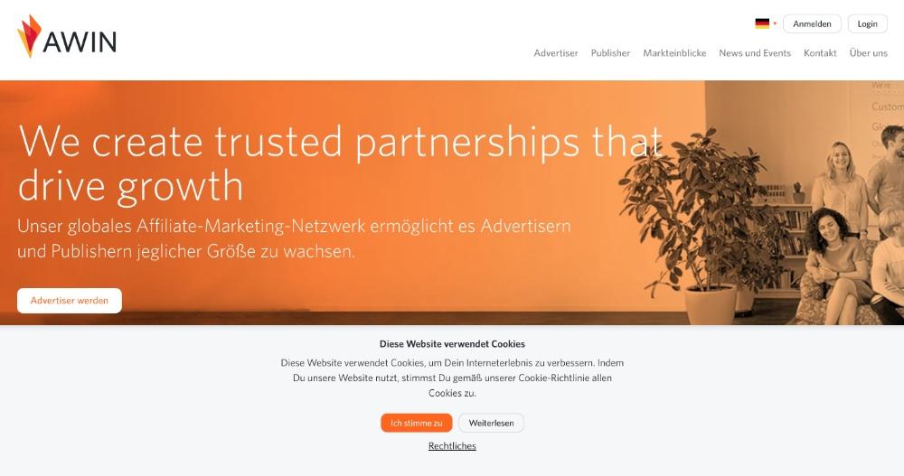 Awin Partnerprogramm Plattform, Screenshot der Webseite von Awin