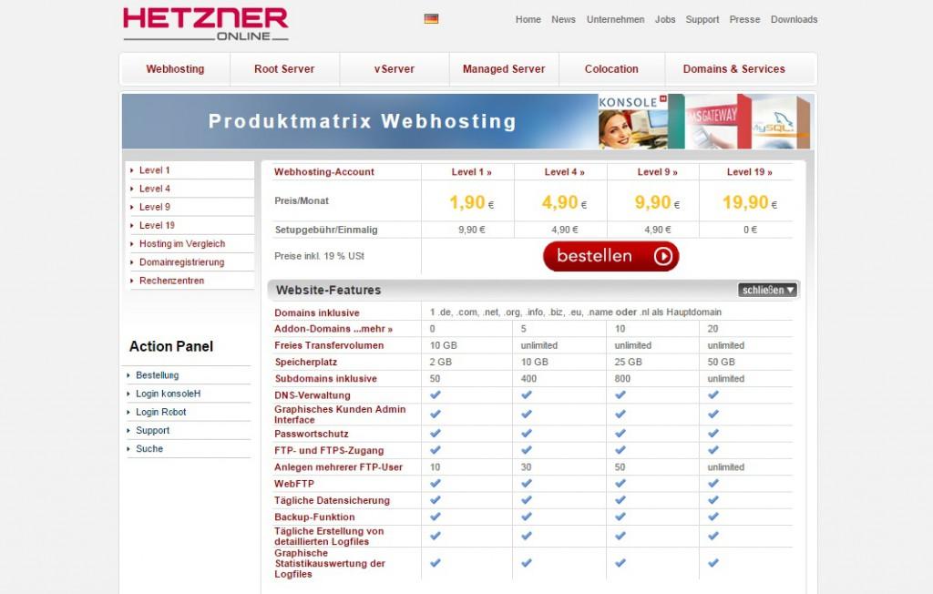 Hetzner-Webhosting