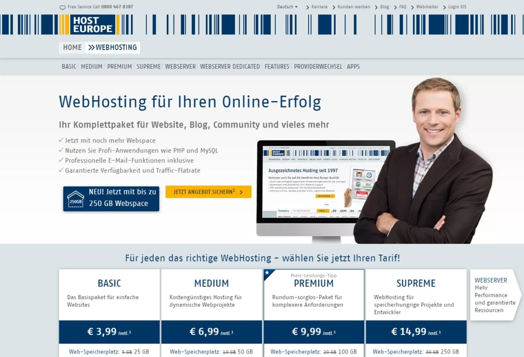 HostEurope-Webhosting