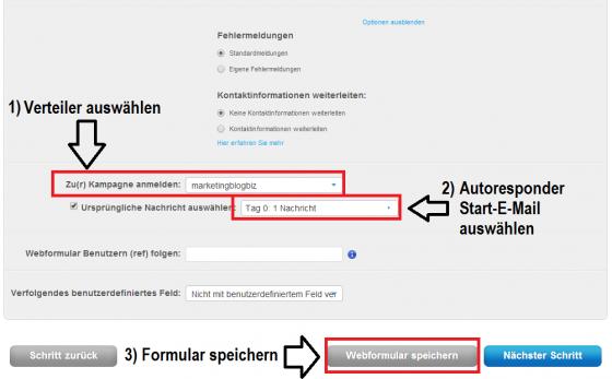 GetResponse-Webformular-Verteilerliste-auswaehlen