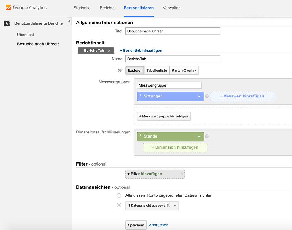 Benutzerdefinierten Bericht in Google Analytics für die Anzeige von Besuchern nach Uhrzeit erstellen