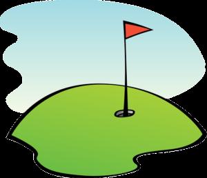 Golfrasen mit Loch und Fahne