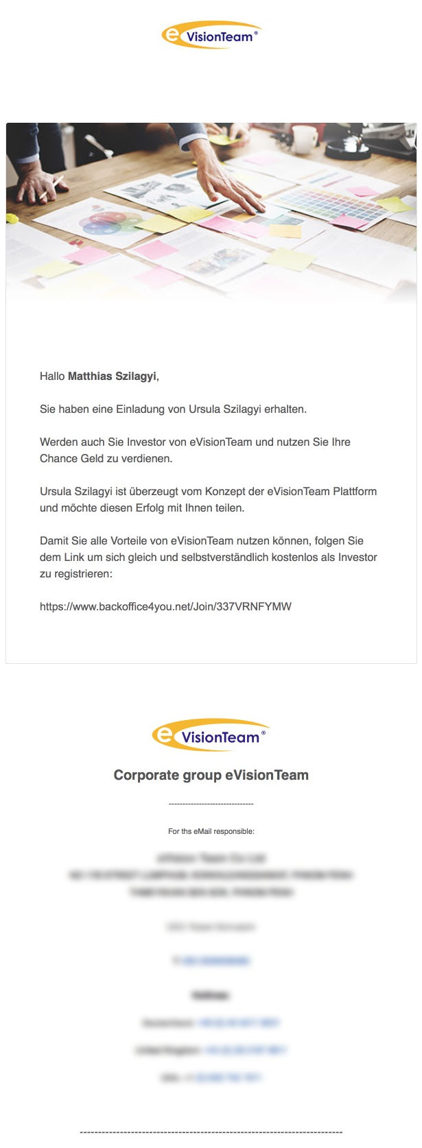 Einladungs-E-Mail Text