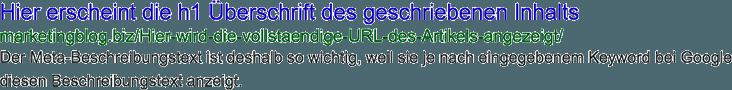 Meta Beispielbeschreibungstext, wichtig für die Onpage SEO Optimierung
