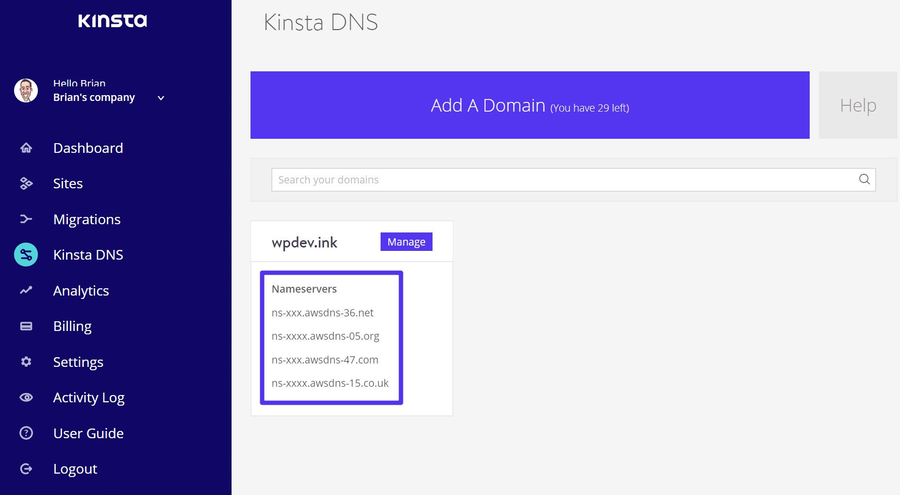 Kinsta: Domain mit Webhosting verbinden - Schritt 2
