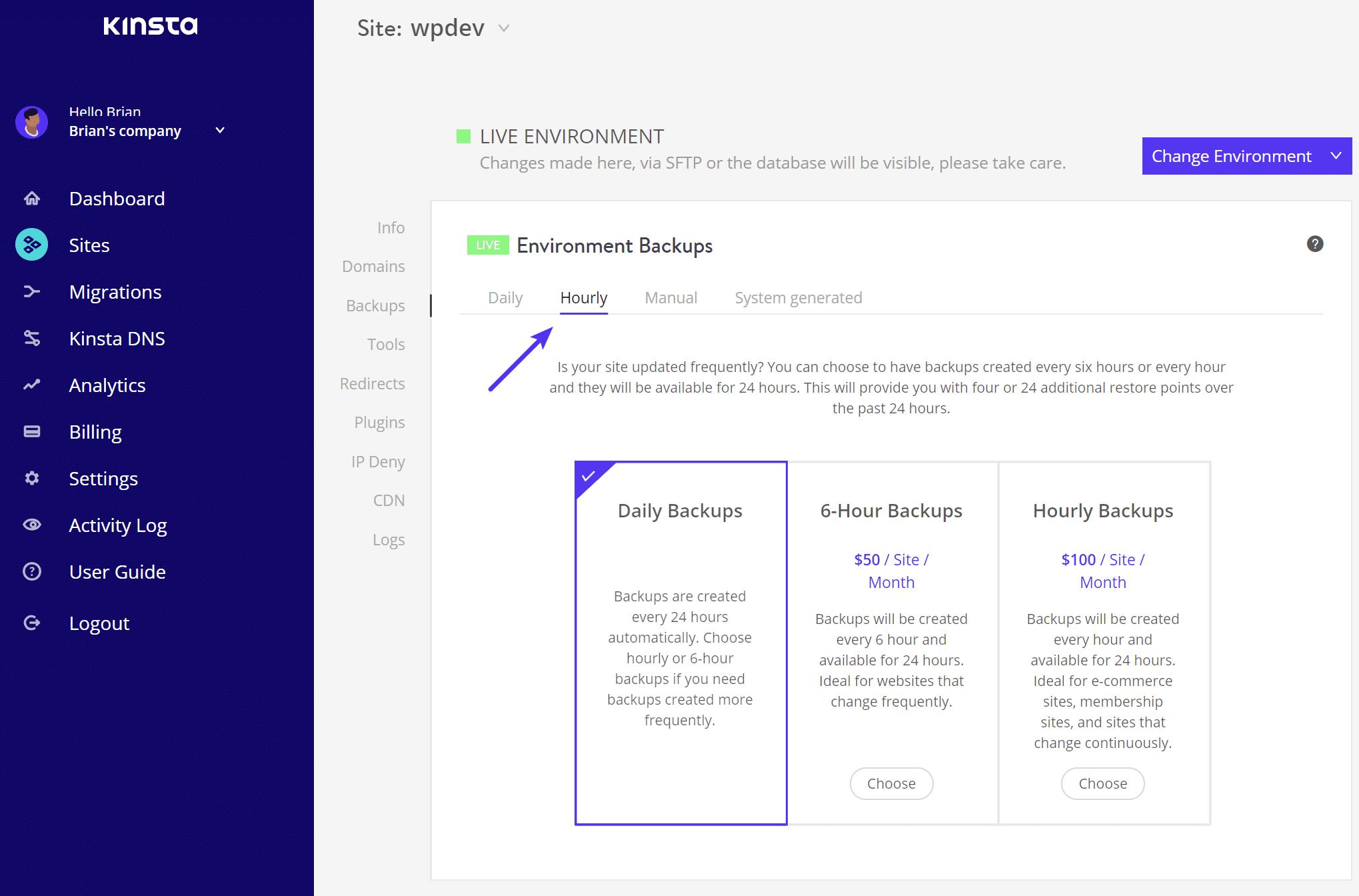 manuelle Backups erstellen - Schritt 3