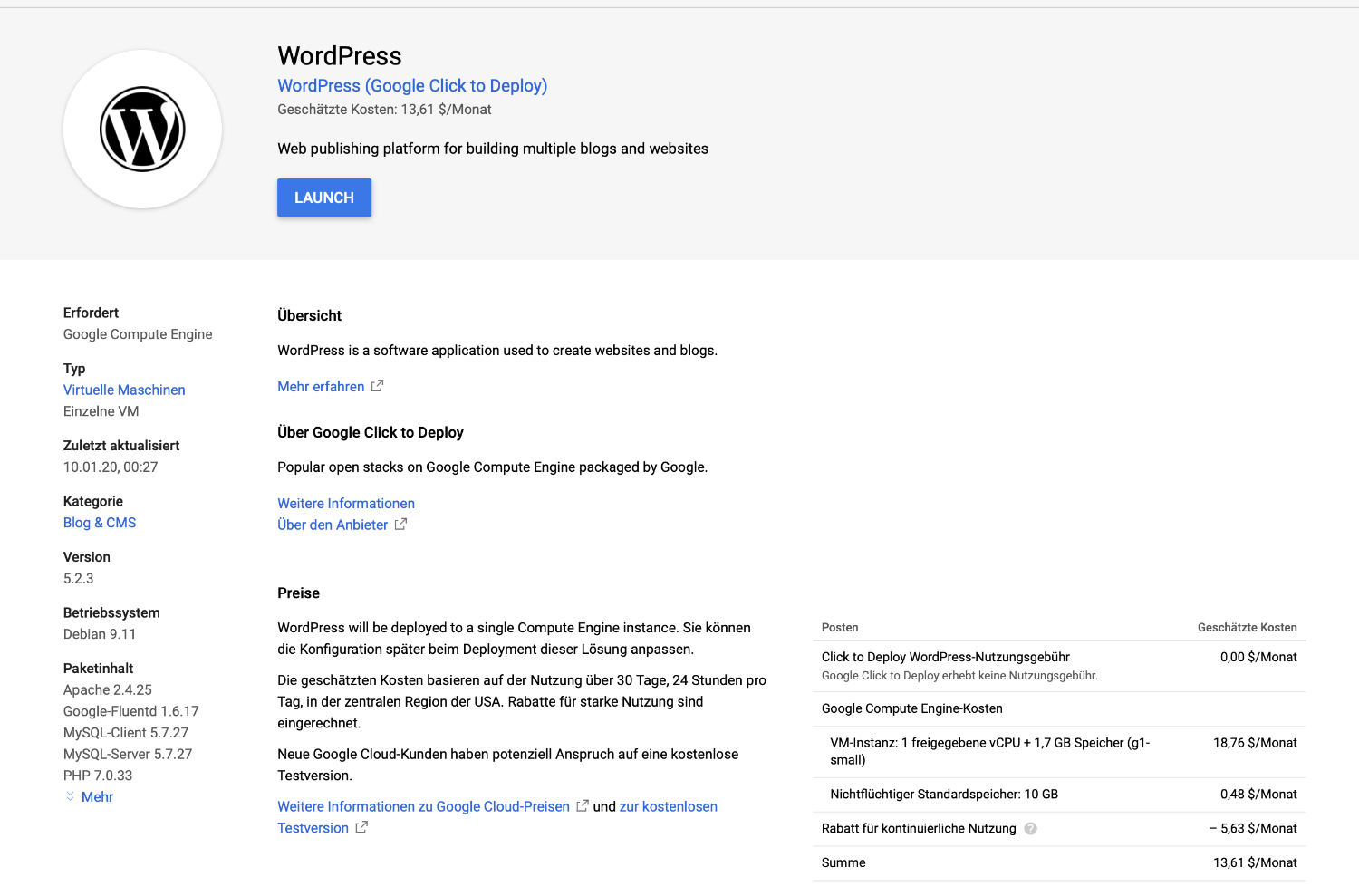 Wordpress in Google Cloud hosten
