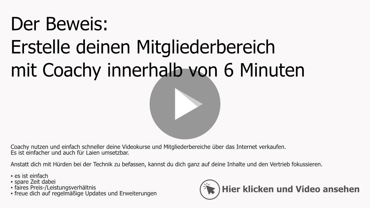 Coachy: Mitgliederbereiche in 6 Minuten erstellt - Beweisvideo