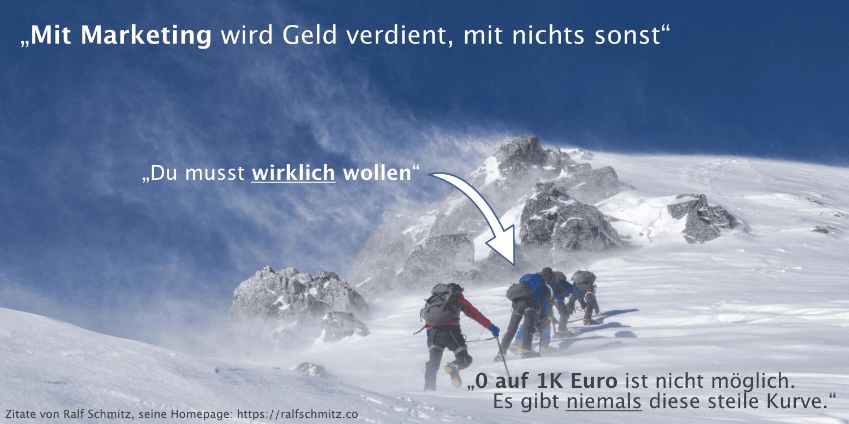 abgebildete Zitate zu Marketing und Erfolg, vom Affiliate-König Ralf Schmitz, Bildabbildung: Bergsteiger, Weg zum Gipfel