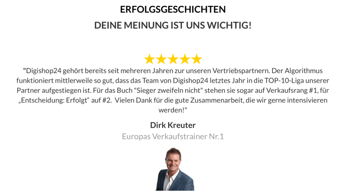 Erfolgsgeschichte: Dirk Kreuters Feedback zur Zusammenarbeit mit Digishop24