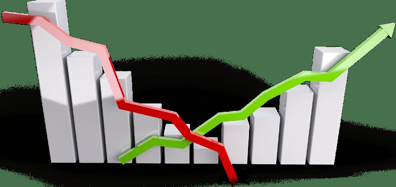 Grafik: Steigender und fallender Aktienkurs; in Rot: Fallender Kurs, in Grün: steigender Kurs